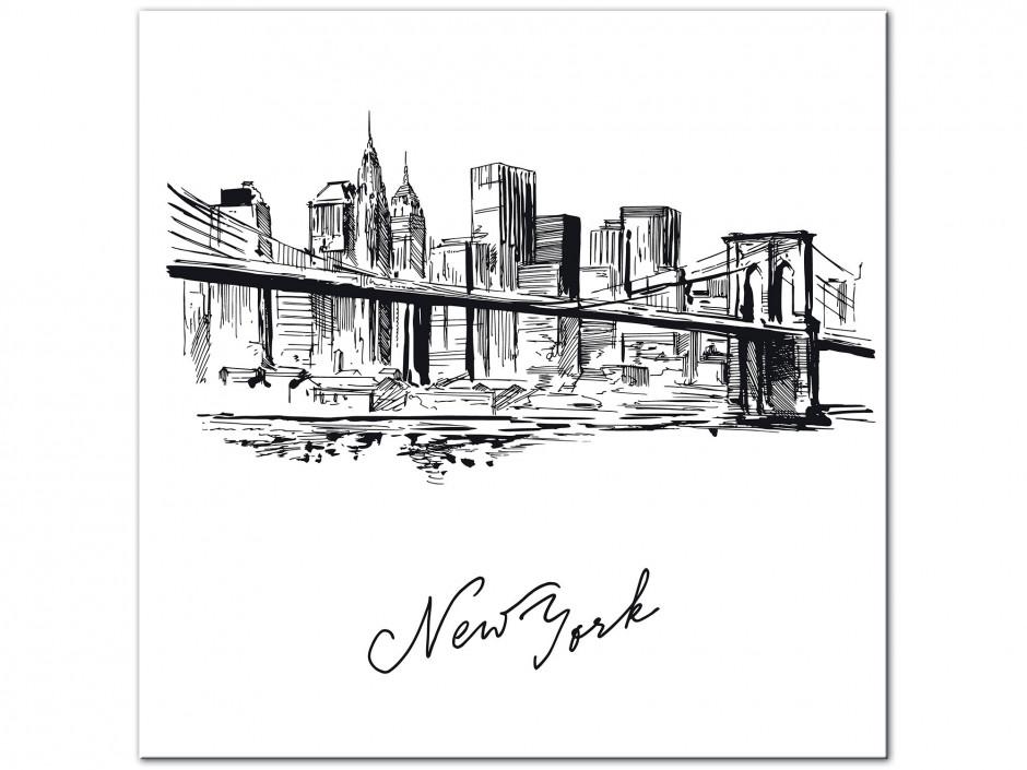Tableau Aluminium moderne dessin New York