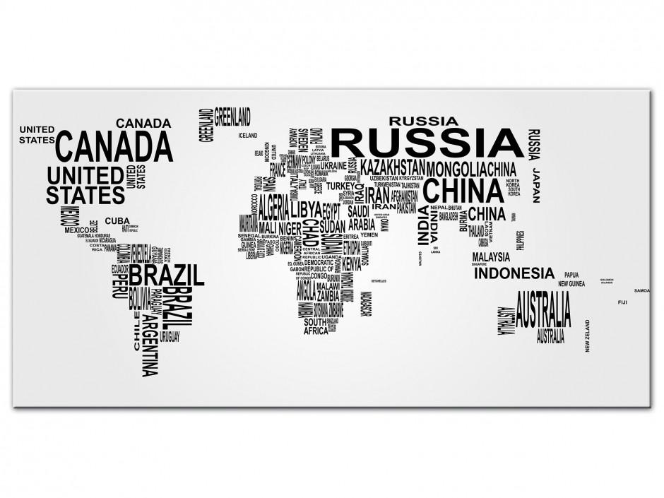 Tableau Aluminium deco Carte du Monde nom de Pays