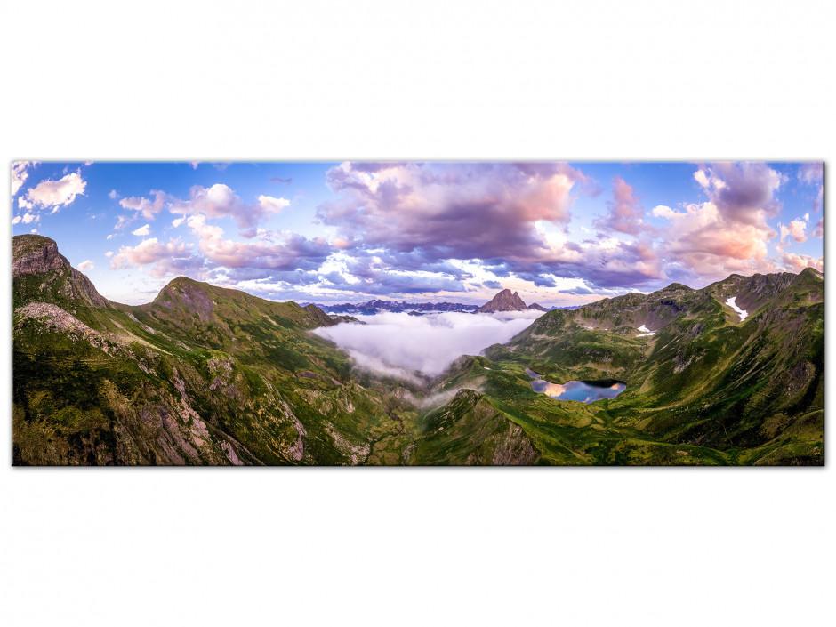 Tableau Aluminium Paysage panorama sur la vallée d'ossau