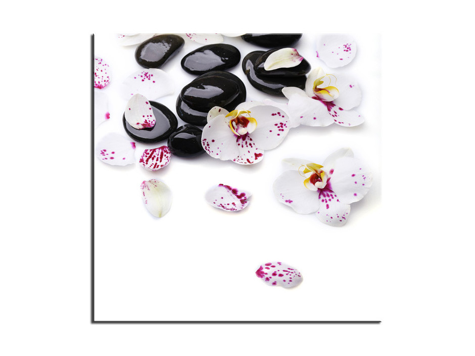 Tableau Aluminium Orchidées et galet zen