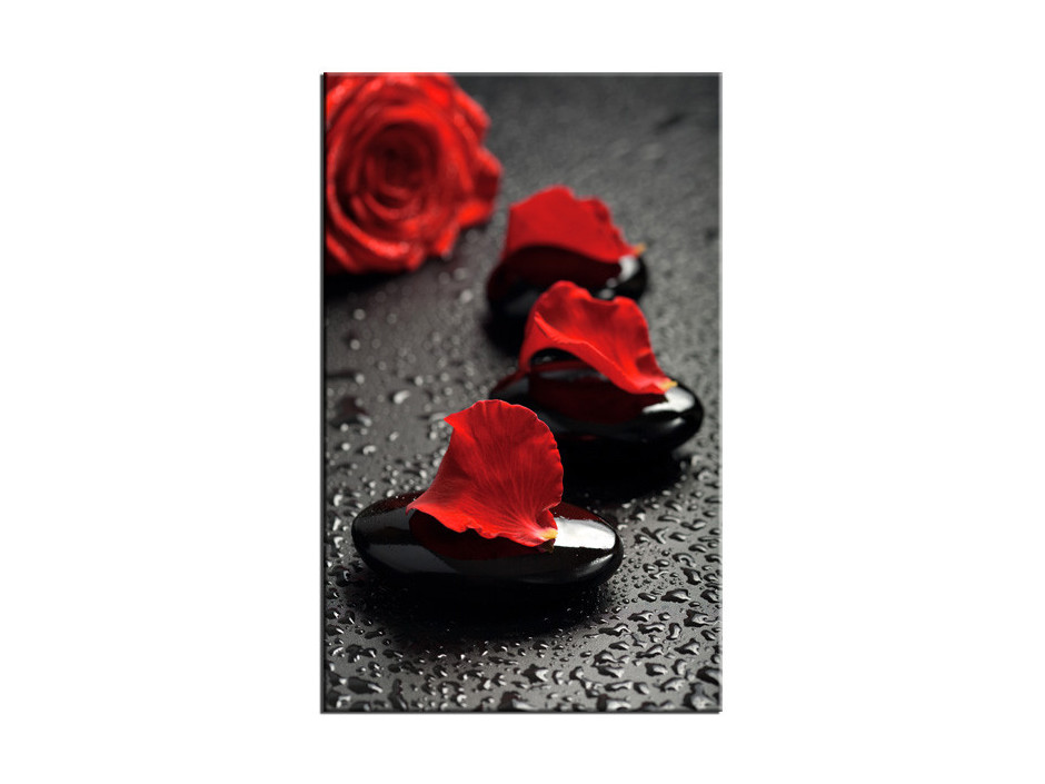 Tableau Aluminium deco galet et rose rouge