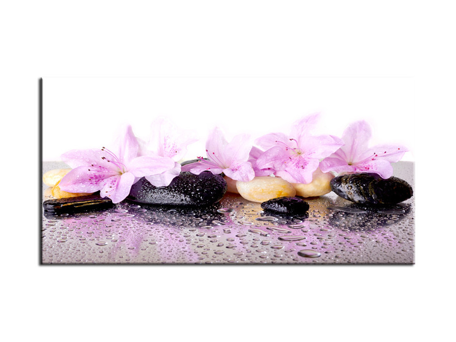 Cadre Aluminium deco zen fleurs et galet