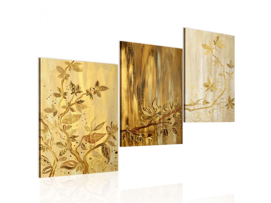 Tableau peint à la main  Feuilles dorées