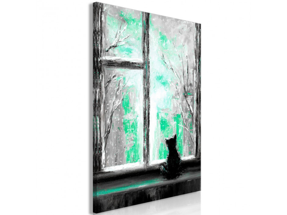 Tableau  Longing Kitty (1 Part) Vertical Green
