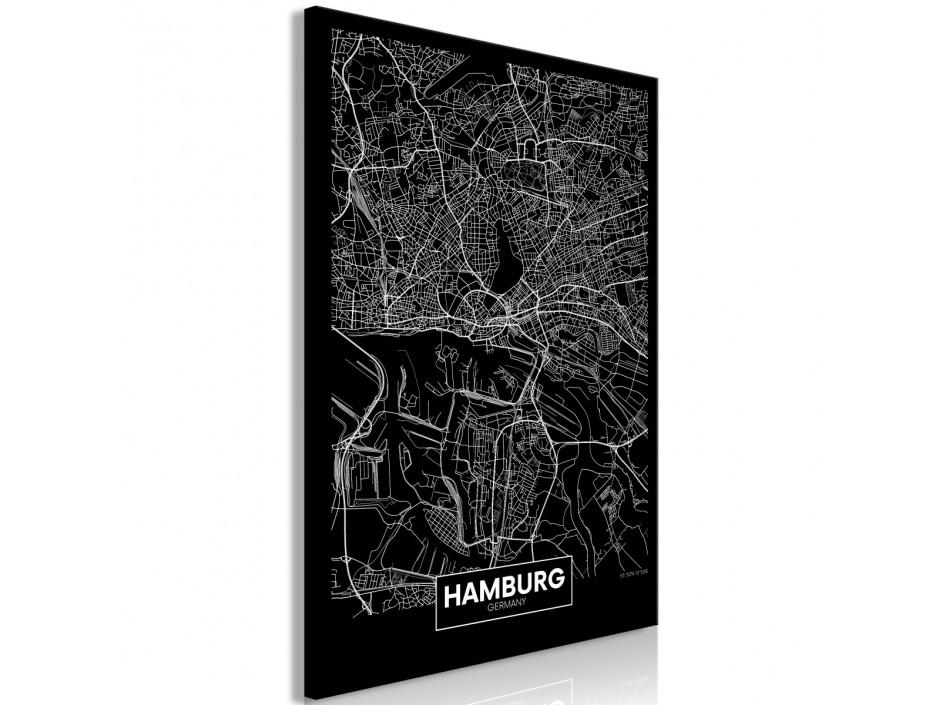 Tableau  Dark Map of Hamburg (1 Part) Vertical