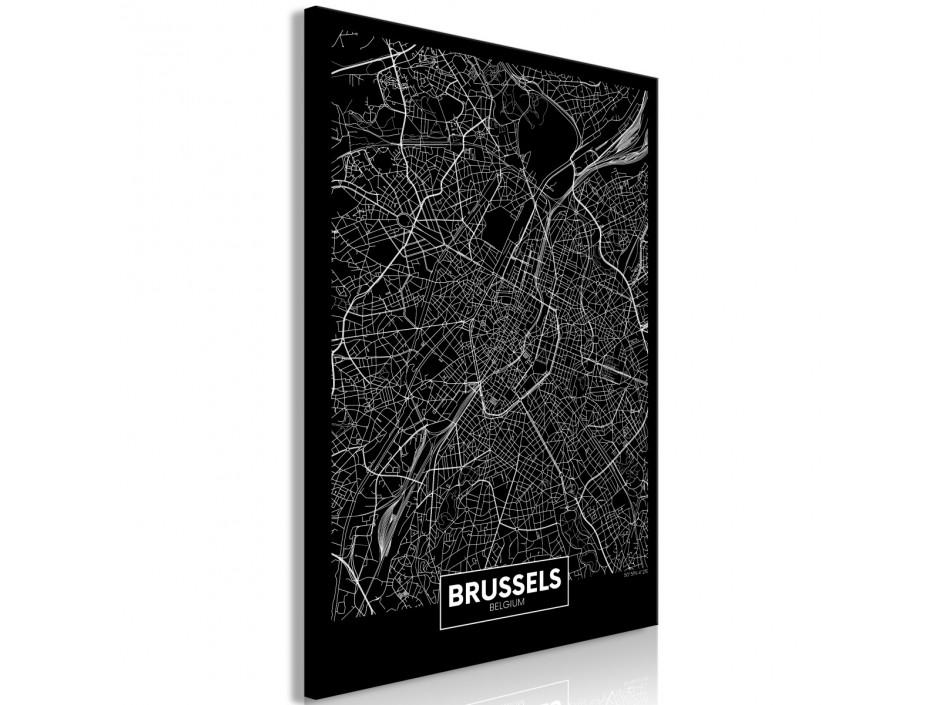 Tableau  Dark Map of Brussels (1 Part) Vertical