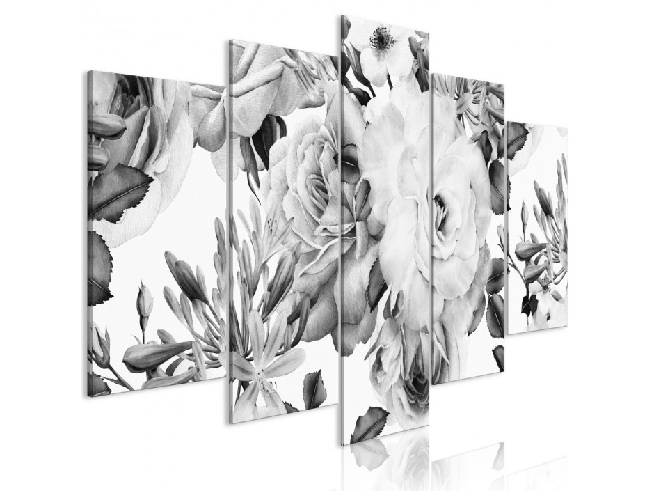 Tableau  Rose Composition (5 Parts) Wide Black and White
