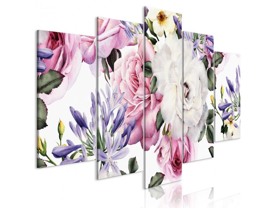 Tableau  Rose Composition (5 Parts) Wide Colourful
