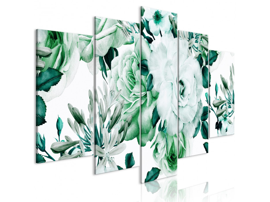 Tableau  Rose Composition (5 Parts) Wide Green