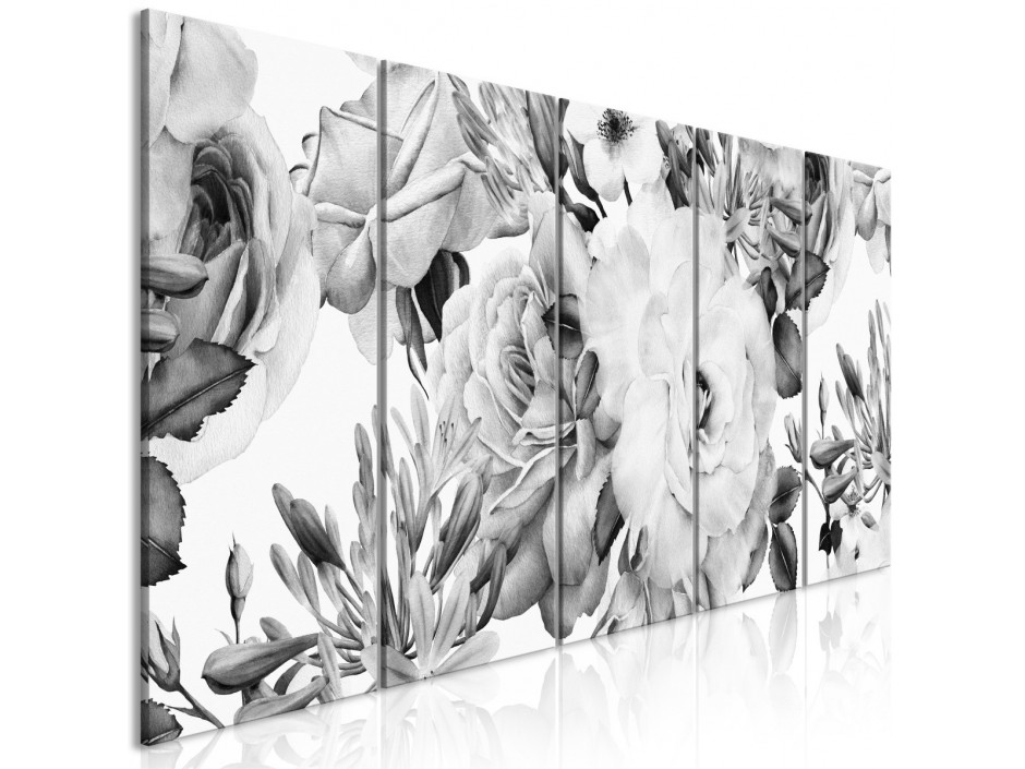 Tableau  Rose Composition (5 Parts) Narrow Black and White
