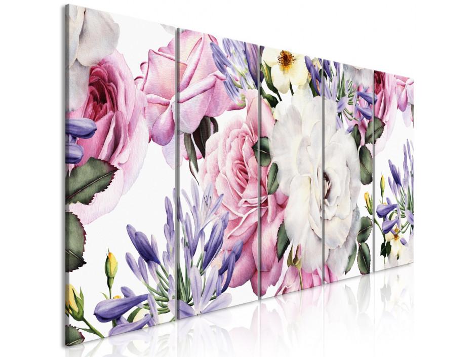 Tableau  Rose Composition (5 Parts) Narrow Colourful