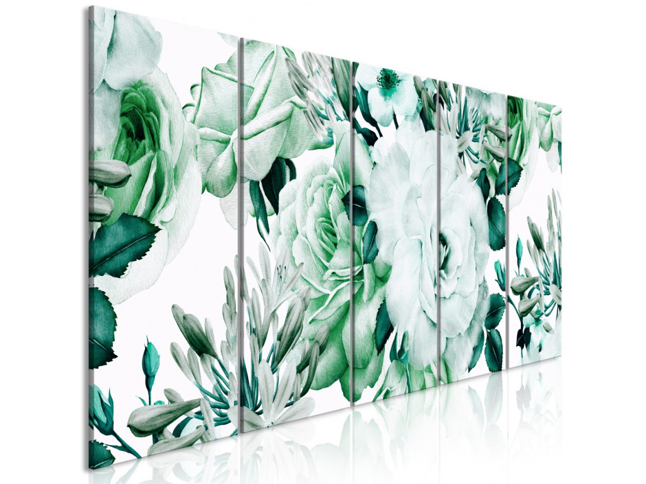 Tableau  Rose Composition (5 Parts) Narrow Green