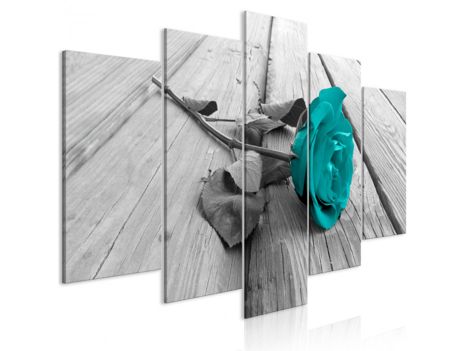 Tableau  Rose on Wood (5 Parts) Wide Turquoise