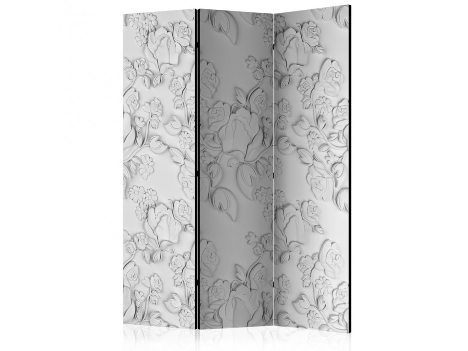 Paravent 3 volets  White ornament roses [Room Dividers]