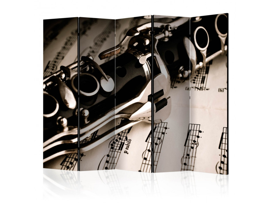 Paravent 5 volets  Clarinet and music notes II [Room Dividers]