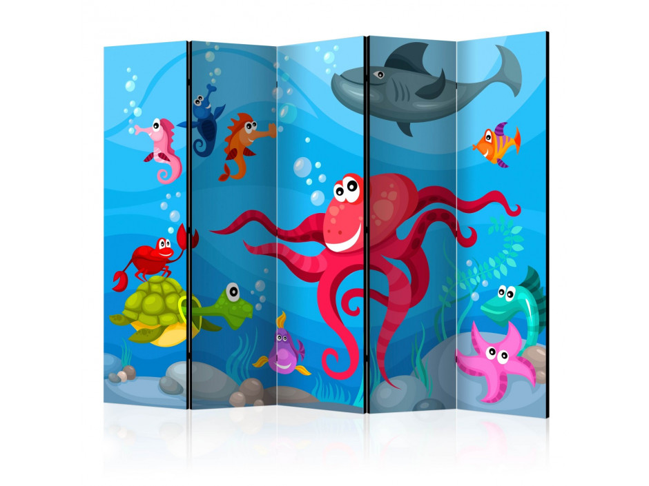 Paravent 5 volets  Octopus and shark II [Room Dividers]