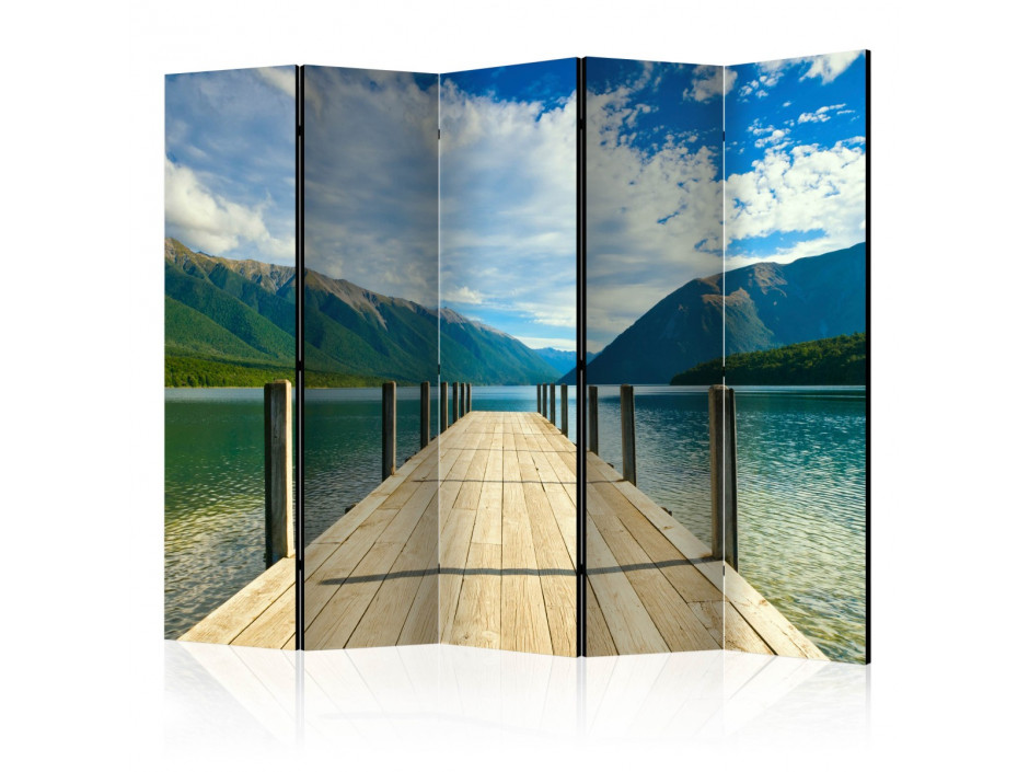 Paravent 5 volets  Mountain lake bridge II [Room Dividers]