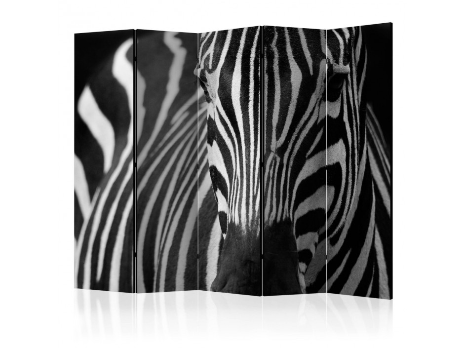 Paravent 5 volets  White with black stripes II [Room Dividers]