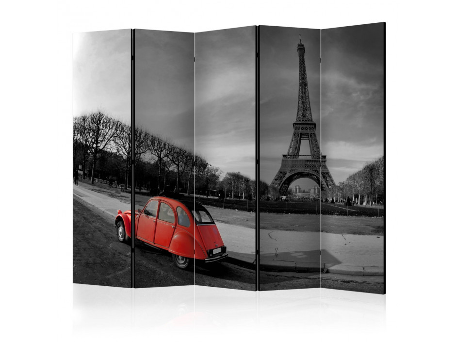 Paravent 5 volets  Eiffel Tower and red car II [Room Dividers]