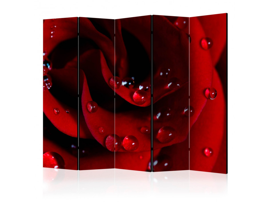 Paravent 5 volets  Red rose with water drops II [Room Dividers]
