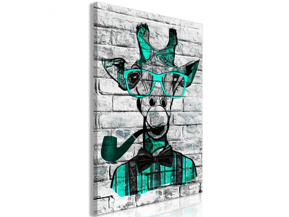 Tableau  Giraffe with Pipe (1 Part) Vertical Green