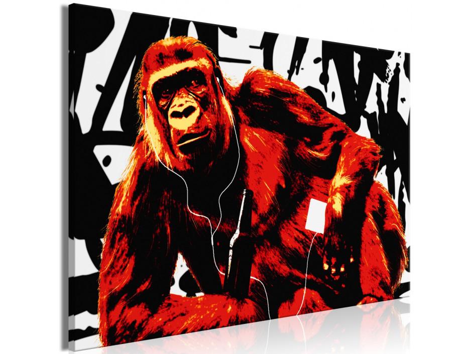 Tableau  Pop Art Monkey (1 Part) Narrow Red