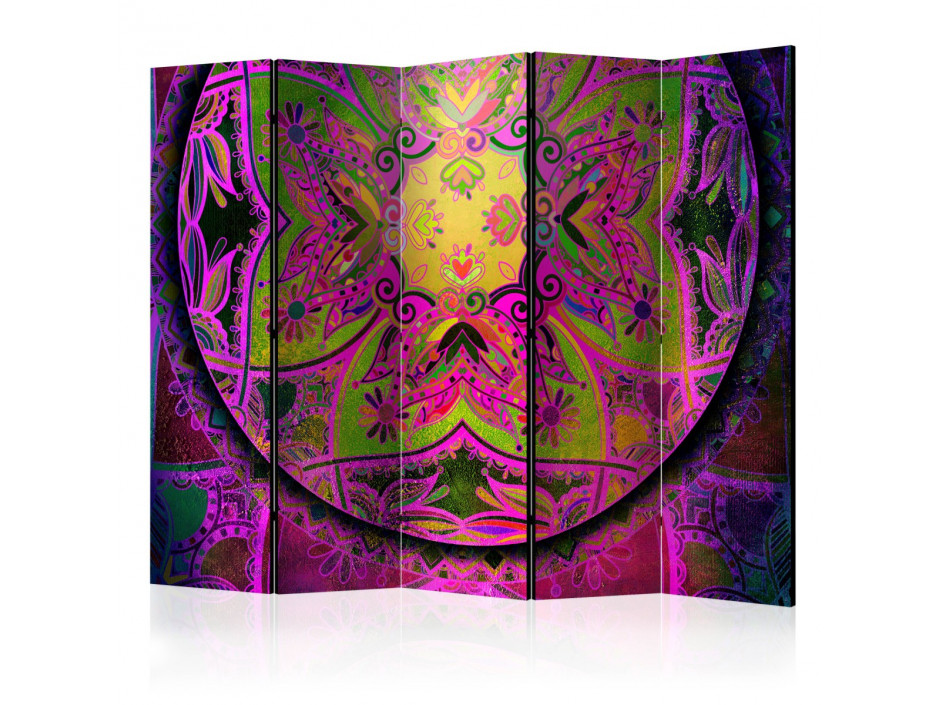 Paravent 5 volets  Mandala Pink Expression II [Room Dividers]