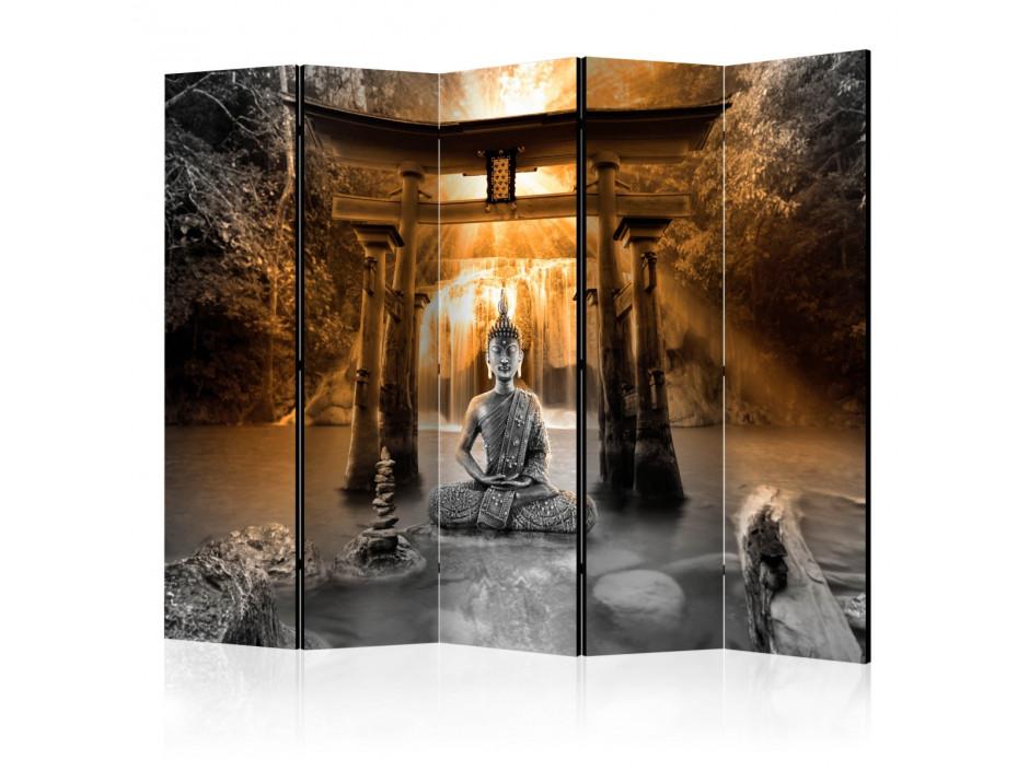 Paravent 5 volets  Buddha Smile (Orange) II [Room Dividers]