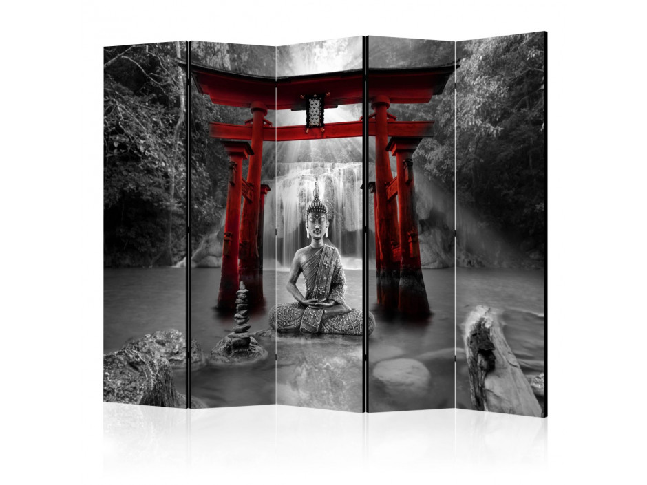 Paravent 5 volets  Buddha Smile (Red) II [Room Dividers]