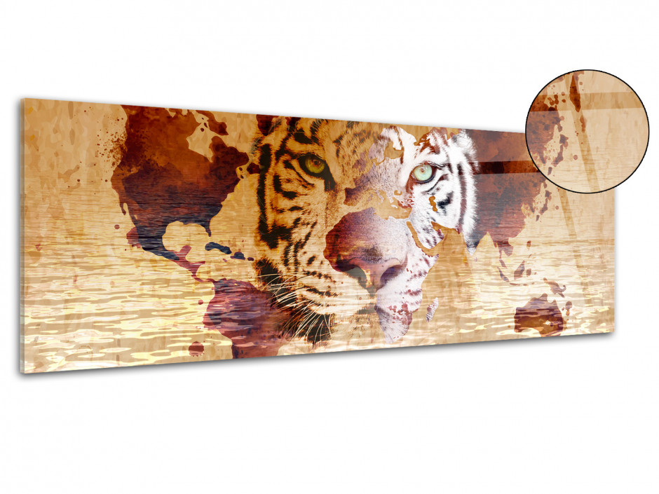 Tableau plexiglas contemporain TIGRE MAP MONDE