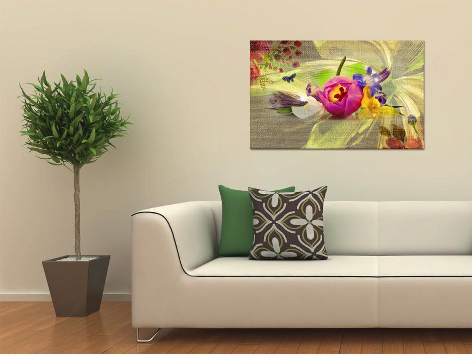 Tableau plexiglas fleurs déco CHAMPÊTRE