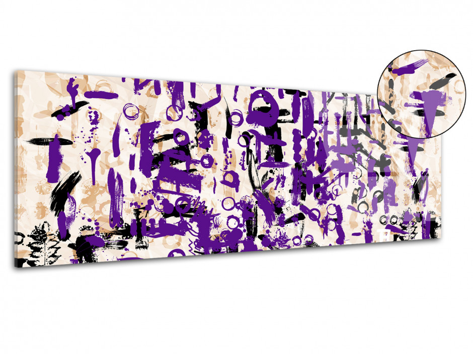Tableau plexiglas art moderne déco SYMBOLES VIOLETS