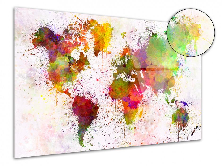 Tableau Plexiglas moderne Carte du monde en Graff