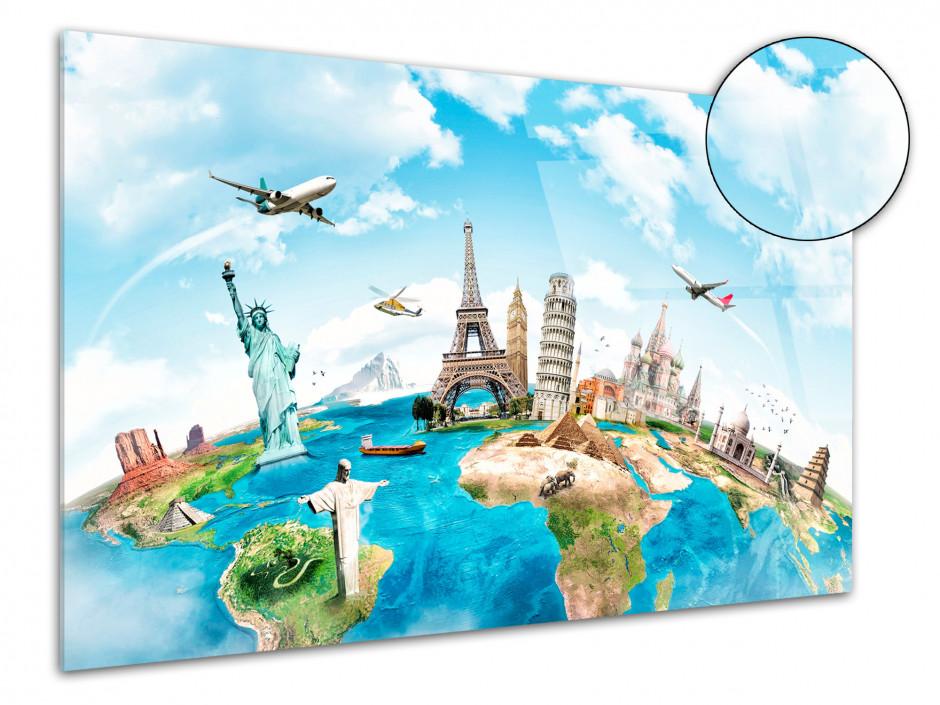 Tableau plexiglas deco dessin carte du monde