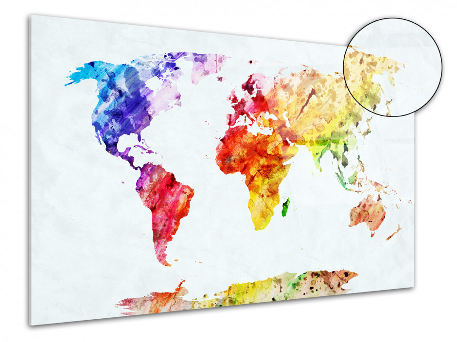 Cadre Plexiglas deco moderne carte du monde coloré