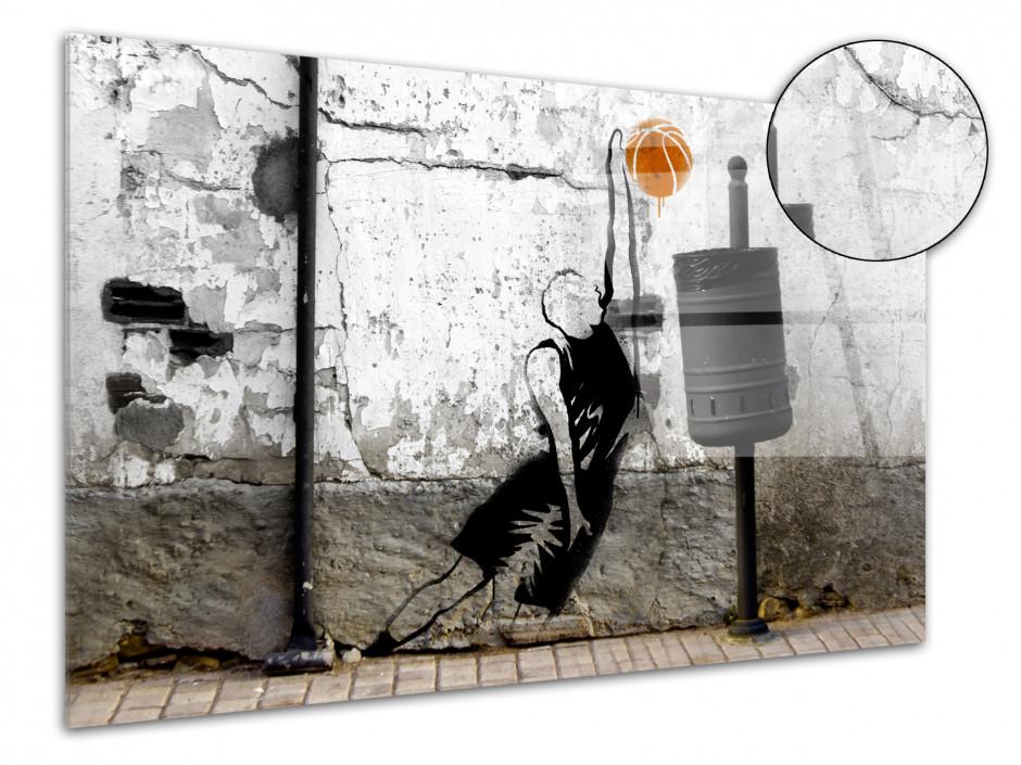 Tableau plexiglas déco STREET ART BASKETTEUR