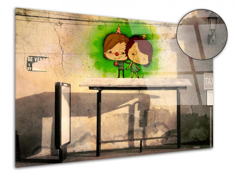 Tableau plexiglas street art ARRÊT DE BUS