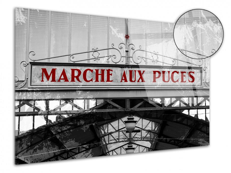 Tableau plexiglas photo noir et blanc AU MARCHÉ