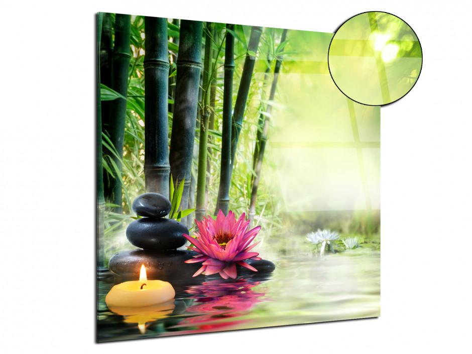Tableau plexiglas zen bougie et galet sur forêt de bambou