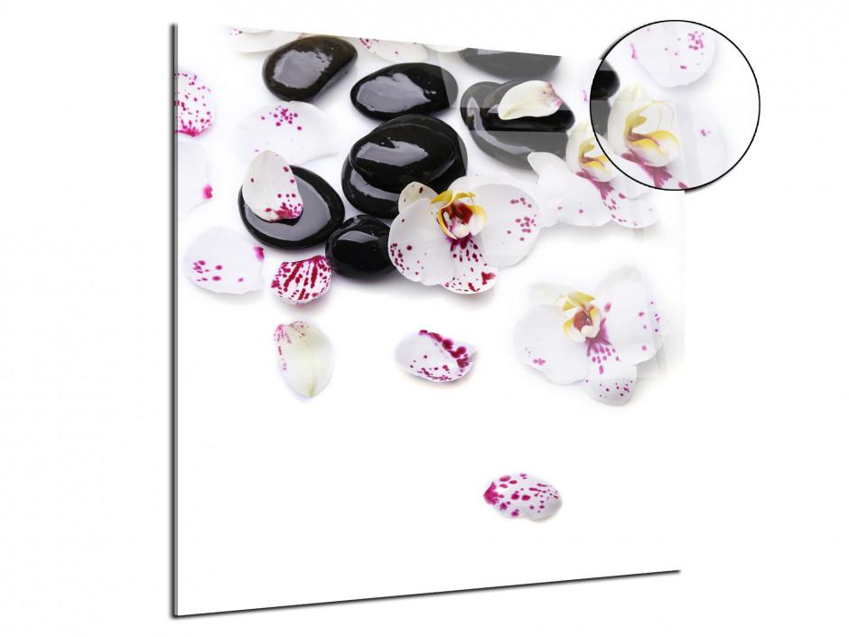Tableau plexiglas Orchidées et galet zen