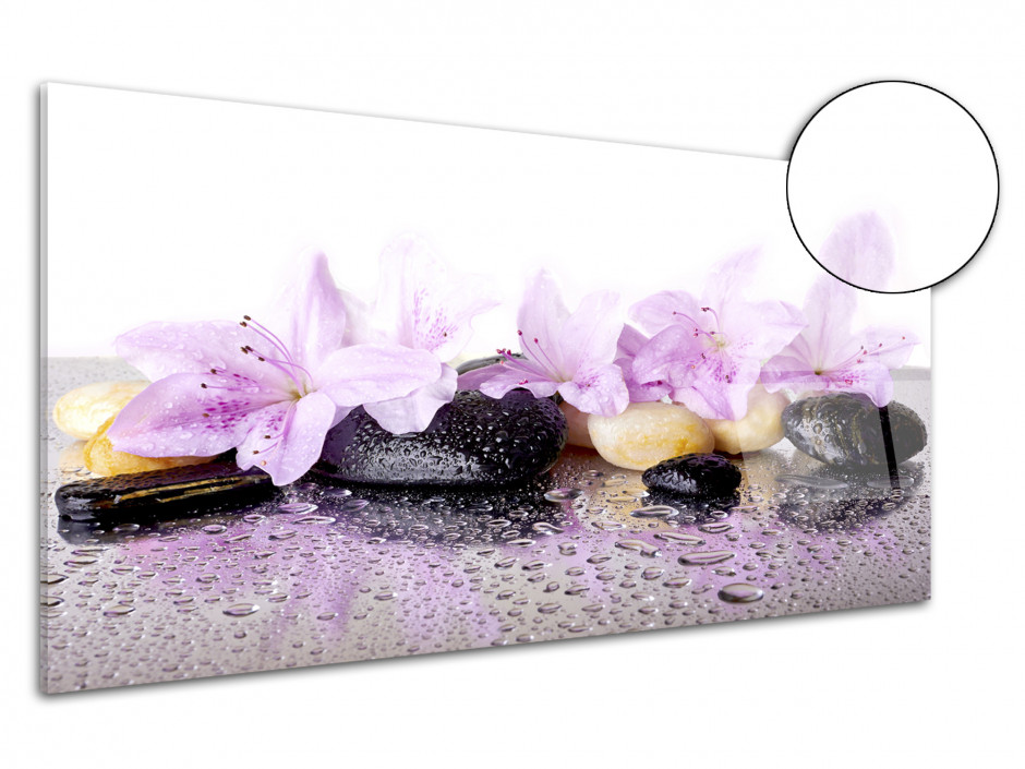 Cadre plexiglas deco zen fleurs et galet