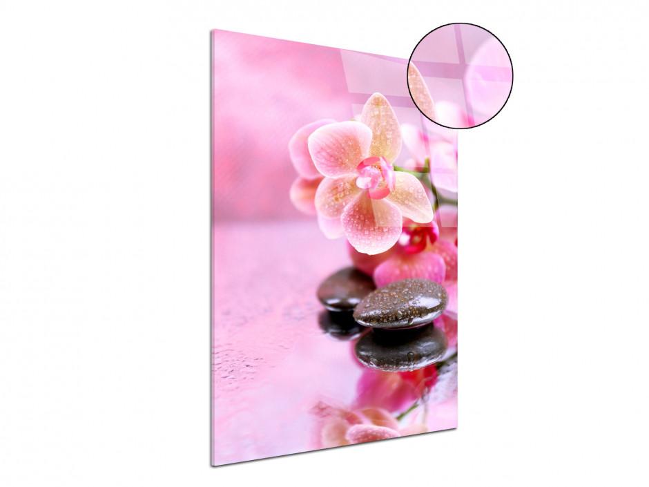 Tableau plexiglas mural déco Fleurs et Galet