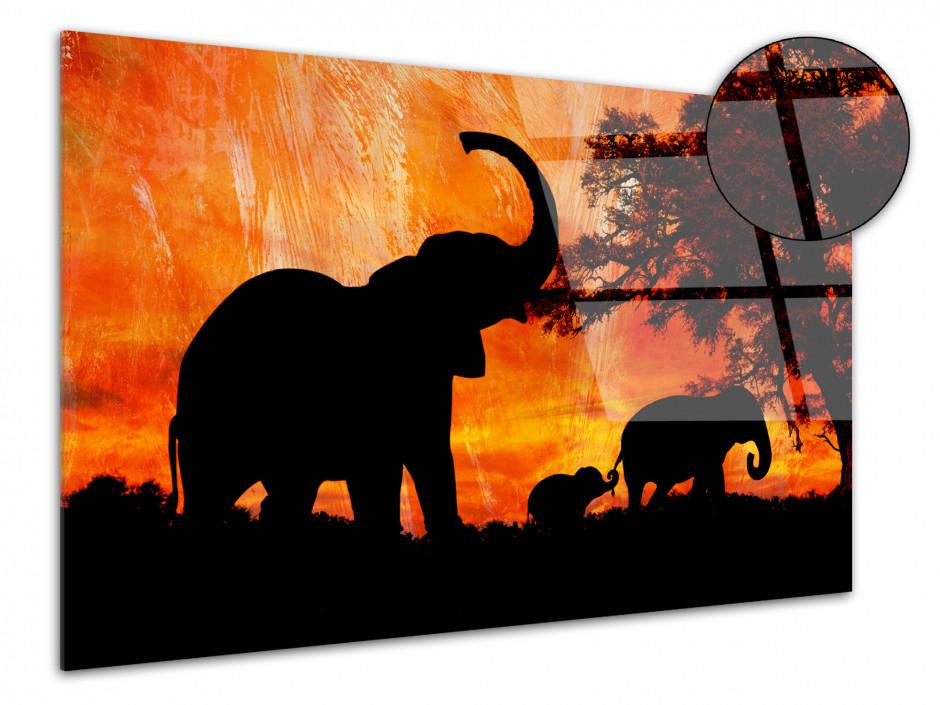 Tableau Plexiglas Paysages Africain Les Eléphants