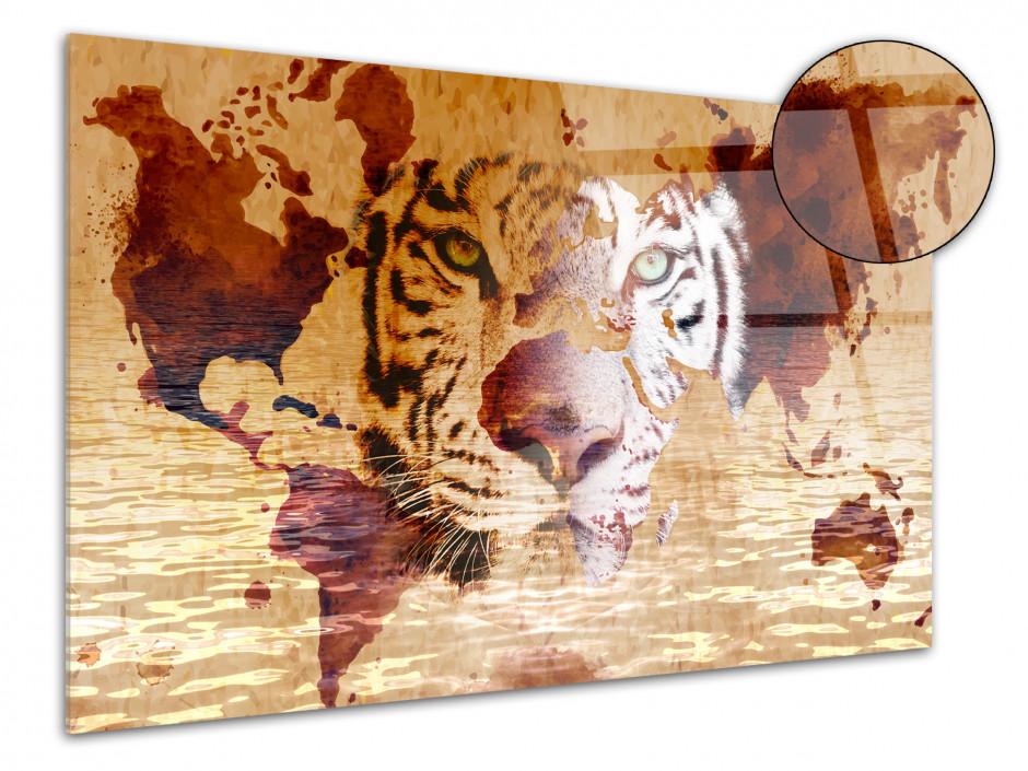 Tableau plexiglas deco tête de Lion et Carte du monde