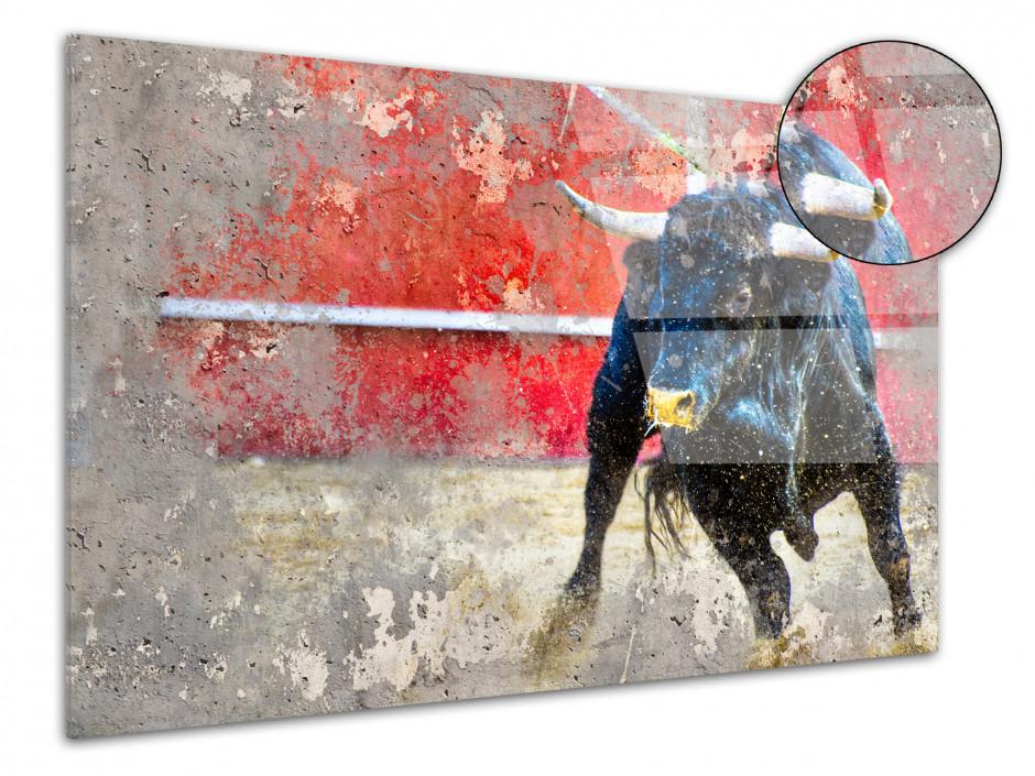 Tableau plexiglas décoration Peinture Taureau dans l'arene