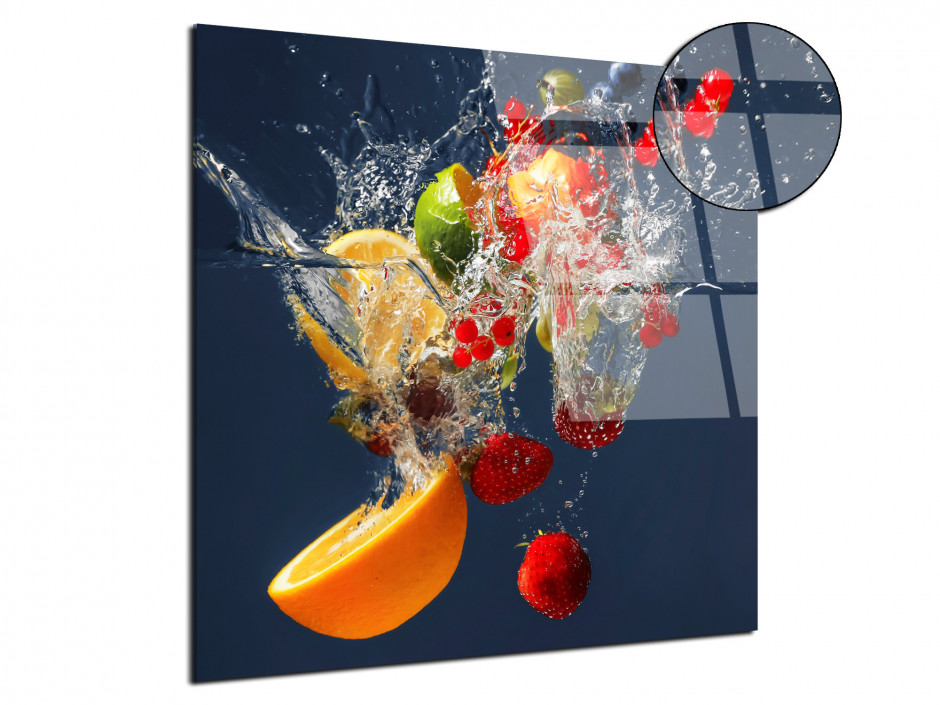 Cadre plexiglas carré déco de fruits