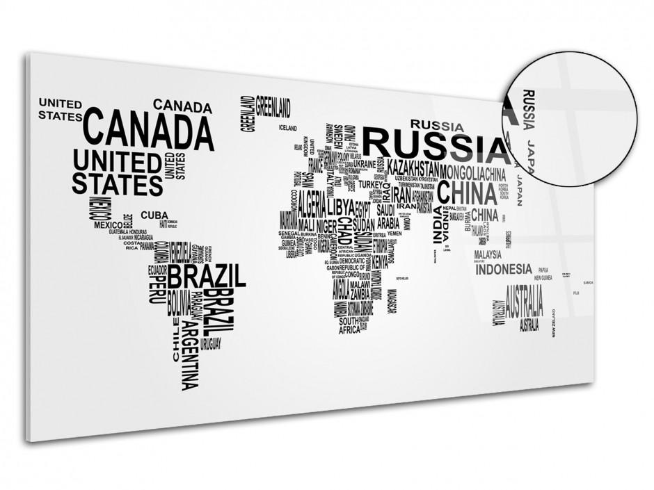 Tableau plexiglas deco Carte du Monde nom de Pays