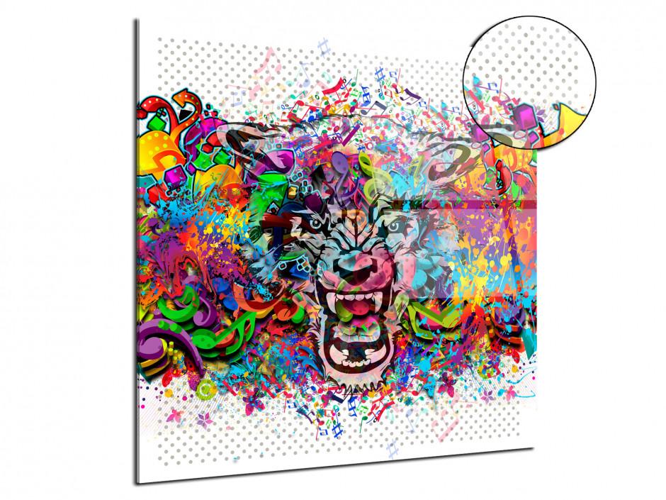 Cadre plexiglas deco design Tête de lion