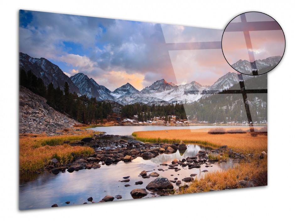 Tableau plexiglas photo COUCHER DE SOLEIL SUR LES SOMMETS