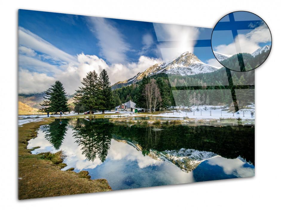 Tableau plexiglas paysage REFLET SUR LE LAC D'ESTAING
